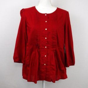 Gap 1969 Red Pleated Button Up Shirt Top Large